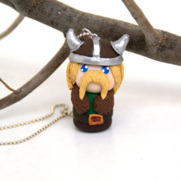 Viking Necklace, Polymer Clay Handmade Chibi
