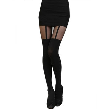 Fashion Tights Bow Tattoo Mock Bow Suspender Sheer Stockings Pantyhose GS
