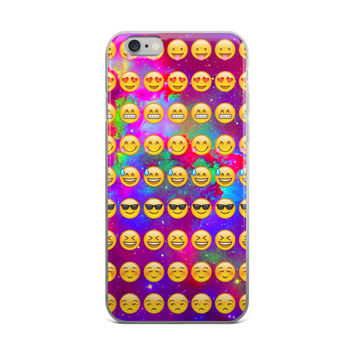 Wink Heart Eyes Blushing & Black Shades Smiley Face Emoji Collage In Space Teen Cute Girly Girls Tie Dye Purple Galaxy iPhone 4 4s 5 5s 5C 6 6s 6 Plus 6s Plus 7 & 7 Plus Case