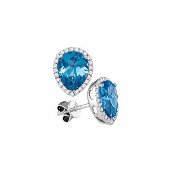 14kt White Gold Women's Pear Blue Topaz Solitaire Diamond Frame Stud Earrings 1-3-4 Cttw - FREE Shipping (USA/CAN)