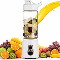 DmofwHi USB Portable Blender Cup, 14oz 3D-6-Blades Battery Operated Blender Bottle for Smoothies/Shakes Personal USB Rechargeable Juicer Machine