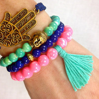 Mint, Hot Pink and Indigo Boho Bracelet Stack- Buddha, Tassel and Hamsa Bracelets