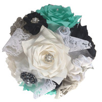 Tiffany blue bridal bouquet, Brooch Wedding bouquet, Pearl and lace bouquet, Paper Bouquet, Toss bouquet, Fake flower bouquet, Lace bouquet
