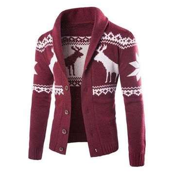 Men's Reindeer Christmas Sweater New Fashion Winter Cardigan for Men Button Slim Men's Knitted Jacket Ugly Sweater