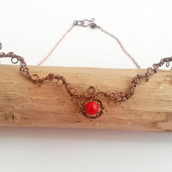 Elvish necklace - Red coral necklace Elven necklace Wire wrap necklace Fantasy necklace Wire wrap jewelry Red coral jewelry Elvish jewelry
