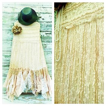 Bohemian gypsy lace Maxi skirt, boho beach mermaid maxi skirt, tea stain