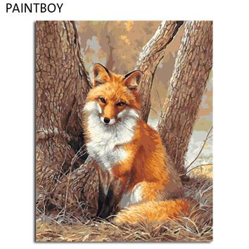 PAINTBOY Fox Framed DIY Painting By Numbers Painting&Calligraphy Acrylic Painting Wall Art  Home Decor For Living Room