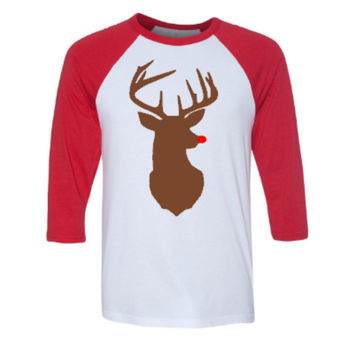 Christmas Shirt, Raglan Shirt, Reindeer Shirt, Red Nose, Christmas Raglan Shirt