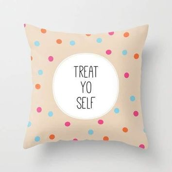 """Treat Yo Self"" Text Cushion Cover"