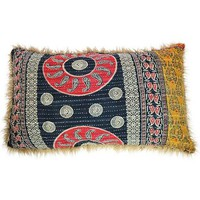 "Oversized Vintage Saris Pillow Backed with Soft Fur - 24"" x 40"""
