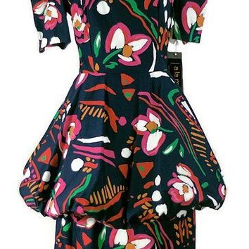 Pop Art Peplum Cotton Dress Vintage ALaMode