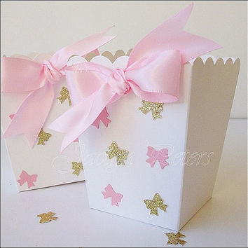 Baby Shower, Favor Box, Pink And Gold Glitter, Bows, Popcorn Holder,  Birthday Party, Candy Holder, Dessert  Supply, Color Choice, Set Of 20