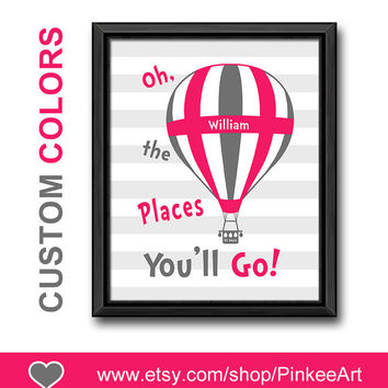 pink and grey hot air balloon nursery oh the places you will go dr seuss quote art striped nursery print baby wall decor playroom wall art