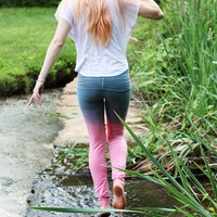 Pink and Gray Dip Dyed Yoga Pants