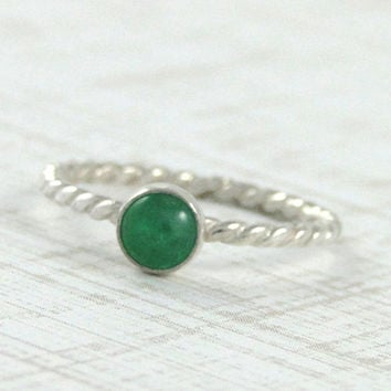 Emerald Gemstone Ring - Sterling Silver Genuine EMERALD Ring - May Birthstone Stacking Ring