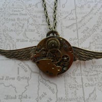 Steampunk Neo Victorian Time Flies Necklace