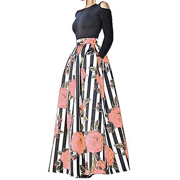 Two-Piece Long Floral Printed Skirt with Pockets, Sizes S-2XL