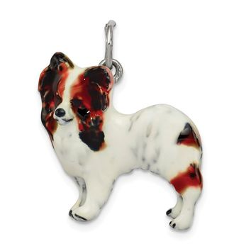 925 Sterling Silver Silver Enamel Papillon Charm and Pendant