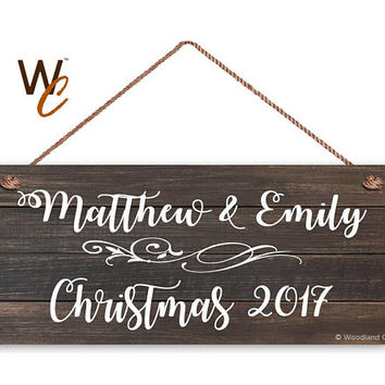 "Couple's First Christmas Sign, Personalized 6""x14"" Sign, Custom First Names & Date, Gift For Newlyweds or Married Couple, Dark Wood Style"