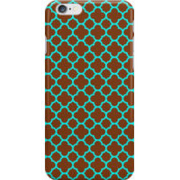 Brown and Turquoise Quatrefoil Pattern by TigerLynx