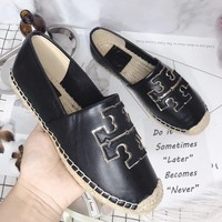 TB Tory Burch new cheap Women Leather Black flat heels Boots Fashion Casual Shoes Best Quality