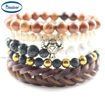 DIY Beaded Stones Handmade Leather Bull Head Vintage Gold color Wrap Bracelets for Men Rock Street Party Energy Health Jewelry