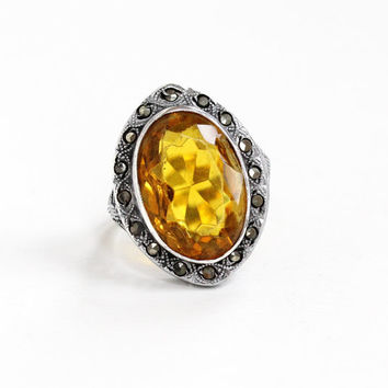 Vintage Art Deco Sterling Silver Simulated Citrine & Marcasite Filigree Ring - 1920s Size 7 3/4 Yellow Orange Glass Stone Bow Motif Jewelry