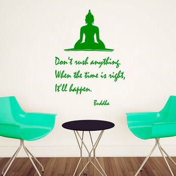 Buddha Wall Decal Quote Don't Rush Anything Yoga Vinyl Stickers Home Wall Art Bedroom Interior Design Living Room Decor Yoga Decals KI97