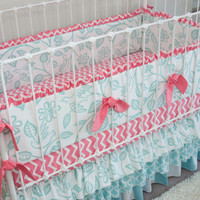 Love Birds Aqua and Coral Baby Crib Bedding