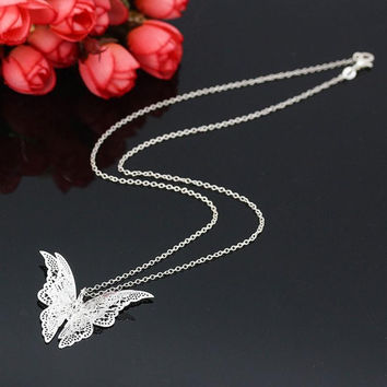 JY 18 Fairy Store 2016 Hot Selling Women Lovely Butterfly Pendant Chain Necklace Jewelry