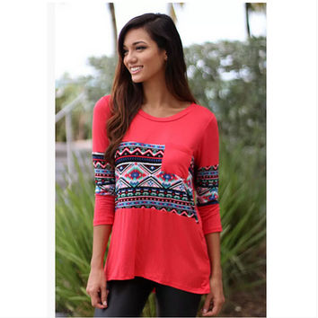 Print Patchwork With Pocket Tops T-shirts [7322412353]