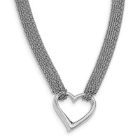 Sterling Silver Rhodium-plated Polished Multi Chain Heart Necklace QG3820