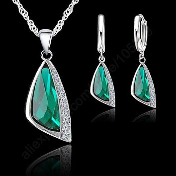 Jemmin Trendy Jewelry Sets 925 Sterling Silver Cubic Zirconia Fashion Jewelry Necklace Pendant Earrings Free