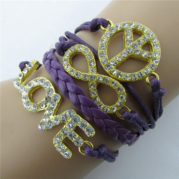 Crystal Love 8 Peace Retro Leather Cord Bracelet