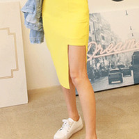 Asymmetric Cut Out Straight Skirt