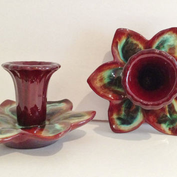 Groovy Vintage 1970s West German Pottery Candle Sticks