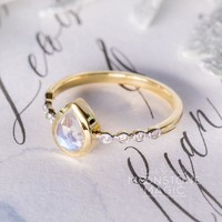 14kt Solid Yellow Gold Moonstone Ring with Diamonds - Aphrodite