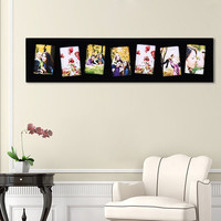 Decorative Black Wood Wall Hanging Picture Photo Frame Tilted - 7 Opening Tilted