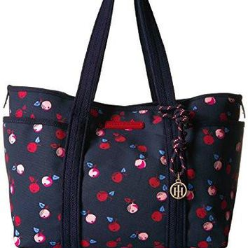 Women's Fashion Handbags Tommy Hilfiger Dariana Cherry Canvas Tote