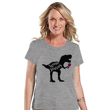 Women's Dinosaur Shirt - Winosaurus Dino Grey T-shirt - Ladies Dinosaur Shirt - Wine Dinosaur Shirt - Wine Lover Dinosaur Gift Idea for Her