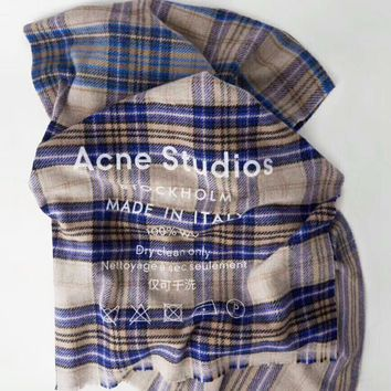 """Acne Studios"" Fashionable Plaid Cashmere Cape Tassel Scarf Scarves Shawl Accessories"