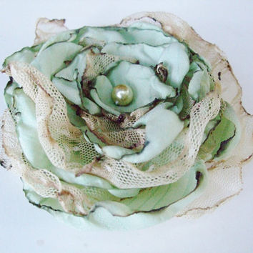 Wedding Hair Flower, Tea Stained Mint Blue Green flower, Made to order
