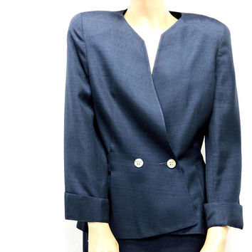 Vintage Christian Dior suit / size M / 8 / 9 / navy blue power suit / Christian Dior The Suit USA / designer 2 piece career suit