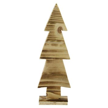 "11.75"" Rustic Wood Cut-Out Christmas Tree Table Top Decoration"