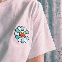 Fashion Casual Loose Embroider Flower Short Sleeve Tee Tops