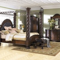 North Shore 8 Pc. Bedroom - Dresser, Mirror, Chest, and King Poster Bed with Canopy