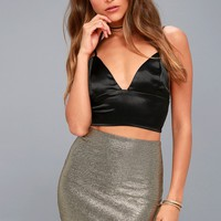 Leading Light Black and Gold Mini Skirt