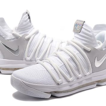 Nike Mens Kevin Durant KD 10 All White Basketball Shoes