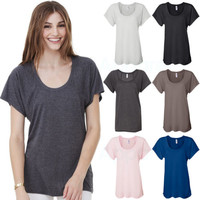 Bella Ladies Flowy Raglan T-Shirt S-2XL Womens Casual Relaxed Fit Solid Tee 8801