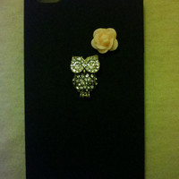Iphone 4/4s Black rhinestone owl with flower detail hardcase with FREE screen protector